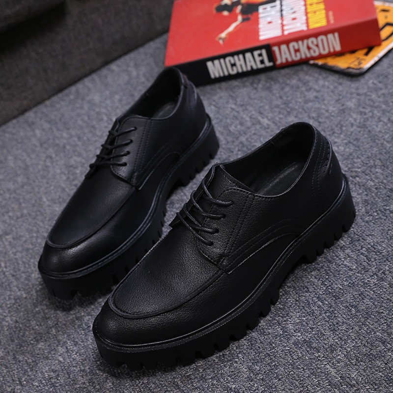 Black Lace Up Mens Thick Cleated Sole
