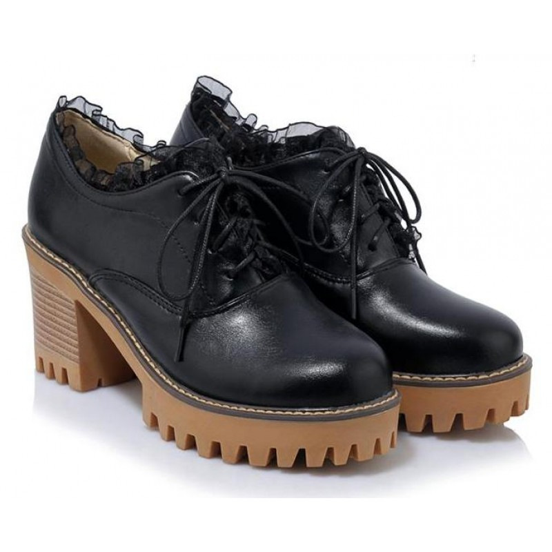 6fd118264f1d Black Lace Up Ruffles Cleated Sole Platforms Chunky Heels Oxfords Shoes