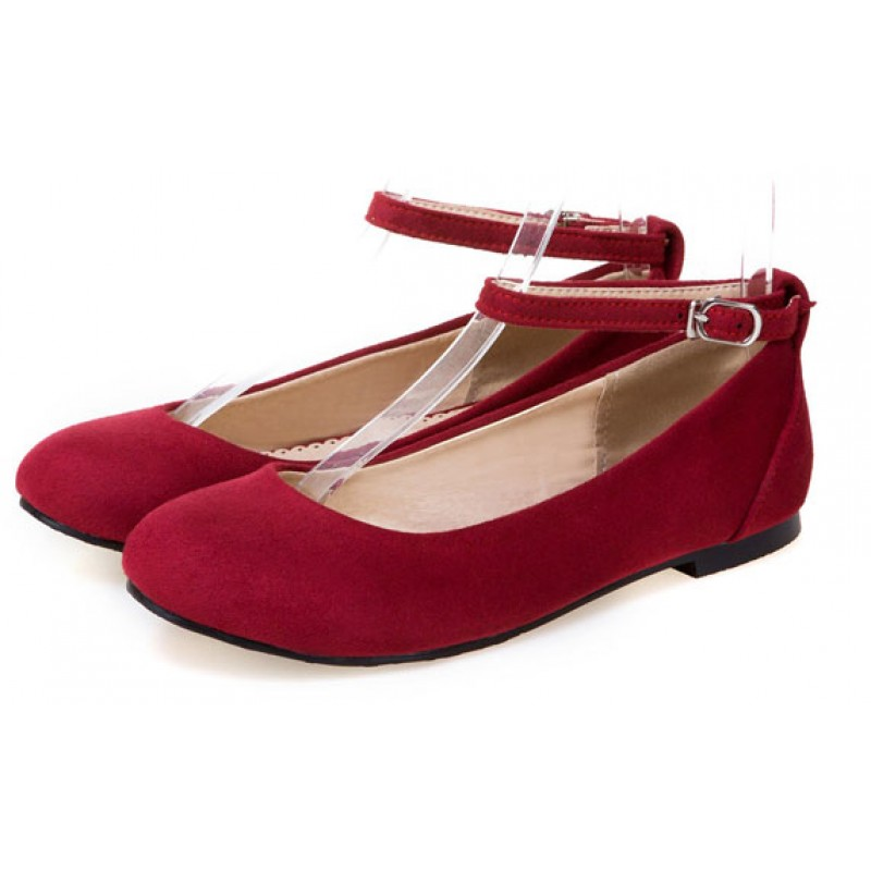 b8c4d98debb Red Suede Velvet Mary Jane Ballerina Ballet Flats Shoes