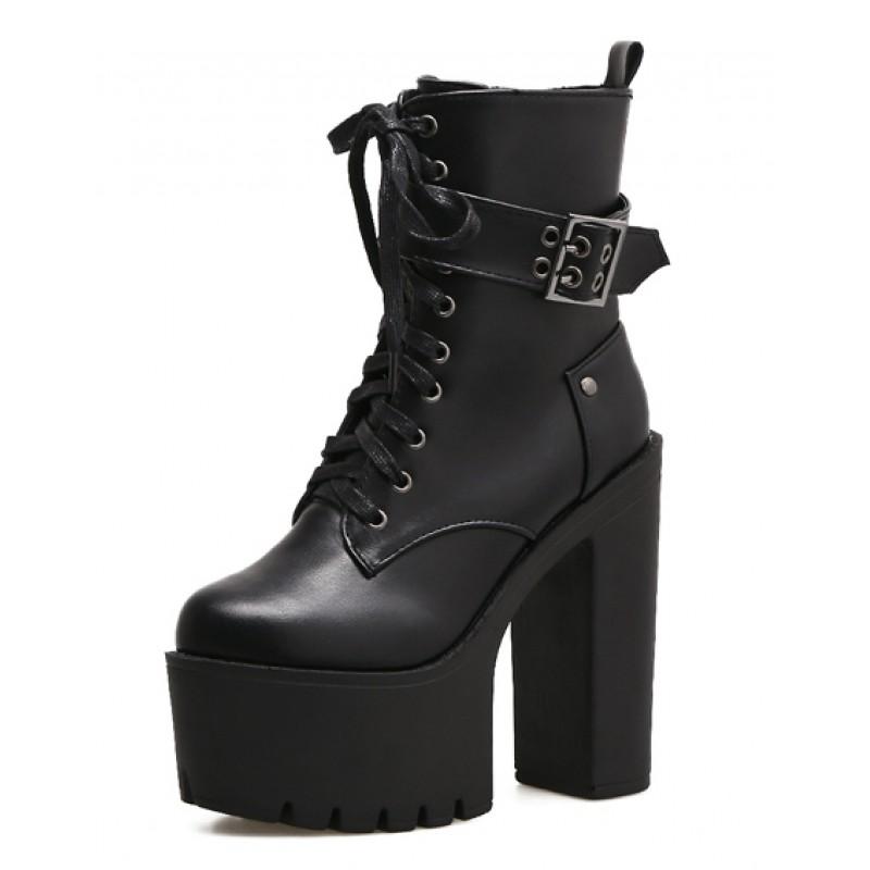 2c0c9f8d55905 Black Buckle Lace Up Punk Rock Chunky Sole Block High Heels ...