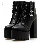Black Side Buckles Punk Rock Chunky Sole Block High Heels Platforms Boots Shoes