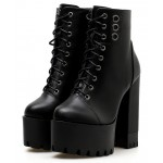 Black Lace Up Rings Chunky Cleated Sole Block High Heels Platforms Boots Shoes