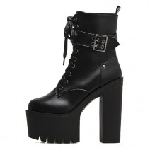 Black Buckle Lace Up Punk Rock Chunky Sole Block High Heels Platforms Boots Shoes