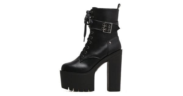 d81fe8ba48017 Black Buckle Lace Up Punk Rock Chunky Sole Block High Heels Platforms Boots  Shoes