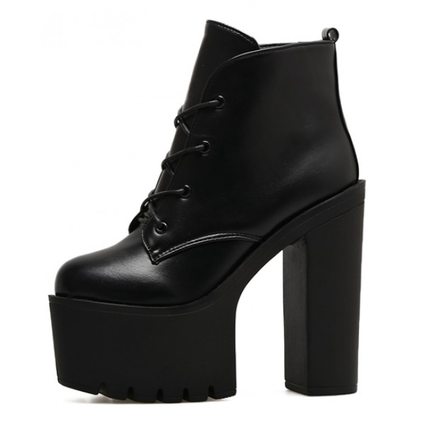 Black Lace Up Chunky Sole Block High Heels Platforms Boots Shoes