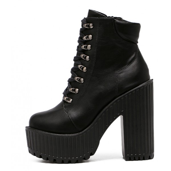 Black Lace Up Punk Rock Chunky Cleated Sole Block High Heels Platforms Boots Shoes