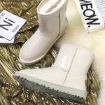 White Patent Glossy Mirror Eskimo Yeti Snow Boots Shoes