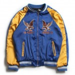 Blue Eagle Dragon Satin Embroidery Mens Aviator Baseball Yokosuka Bomber Jacket