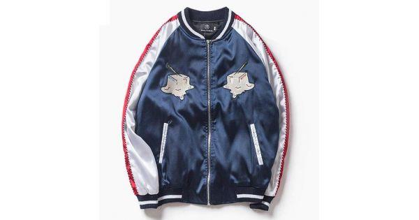 209f31ba38e Blue Navy Brunch Satin Embroidery Mens Aviator Baseball Yokosuka Bomber  Jacket