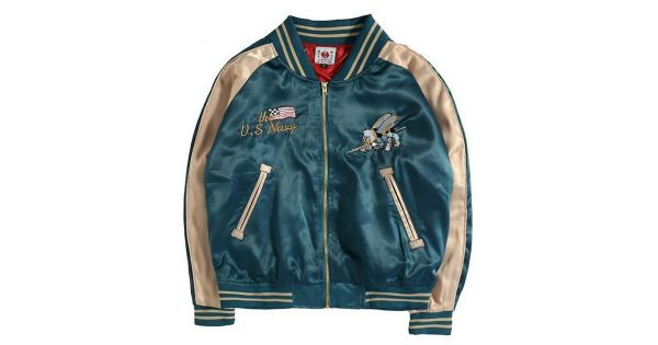 d9a1a57a393 Teal US Navy Satin Embroidery Mens Aviator Baseball Yokosuka Bomber Jacket