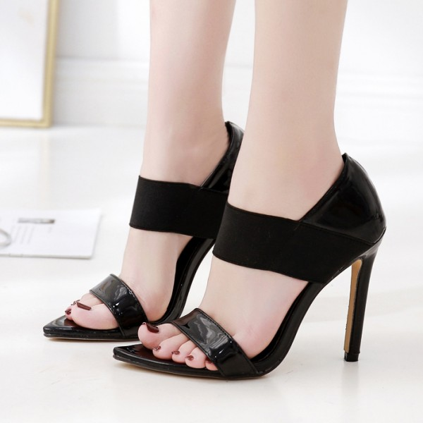 Black Patent Strappy Elastic Band High Heels Stiletto Sandals Shoes