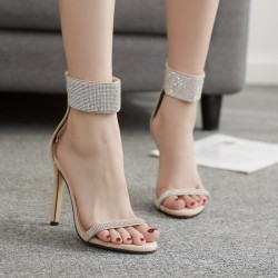 Khaki Suede Ankle Cuff Diamantes Bling Bling High Heels Stiletto Sandals Shoes