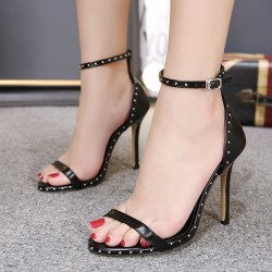 Black Thin Strap Metal Studs Sexy High Heels Stiletto Sandals Shoes
