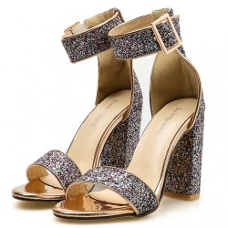Gold Glittering Bling Bling Sexy High Block Heels Sandals Shoes