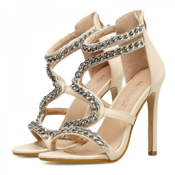 Khaki Silver Chain Swirl High Heels Stiletto Sandals Shoes