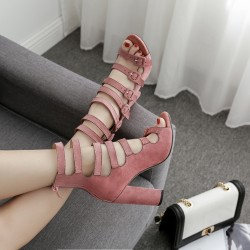 Pink Suede Strappy High Block Heels Sandals Shoes