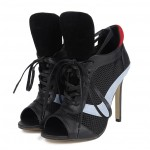 Black Peeptoe Sneakers Funky Lace Up High Heels Stiletto Sandals Shoes