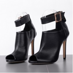 Black Peeptoe Ankle Strap Cuff High Heels Stiletto Sandals Shoes