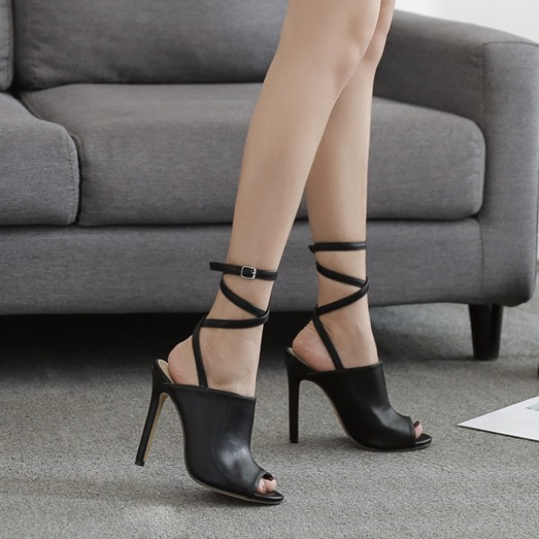 Black Peeptoe Strappy High Heels Stiletto Sandals Shoes