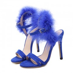Blue Back Furry Fur Sexy High Heels Stiletto Sandals Shoes