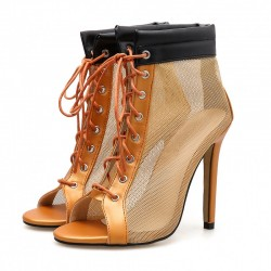 Khaki Sheer Lace Up Sneakers Boots High Heels Stiletto Sandals Shoes