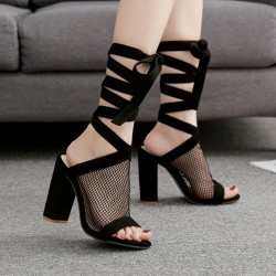 Black Sheer Net Sexy Peeptoe Strappy Boots Block High Heels Sandals Shoes