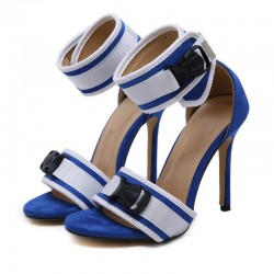 Blue White Funky Strap High Heels Stiletto Sandals Shoes