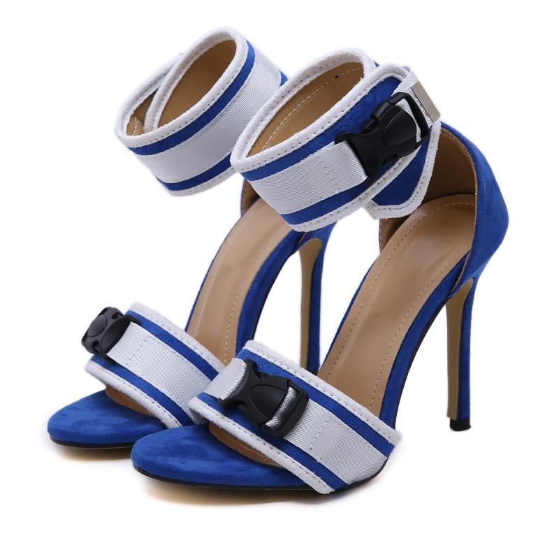 Blue White Funky Strap High Heels