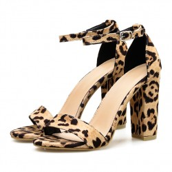 Khaki Leopard Print Block High Heels Sandals Shoes