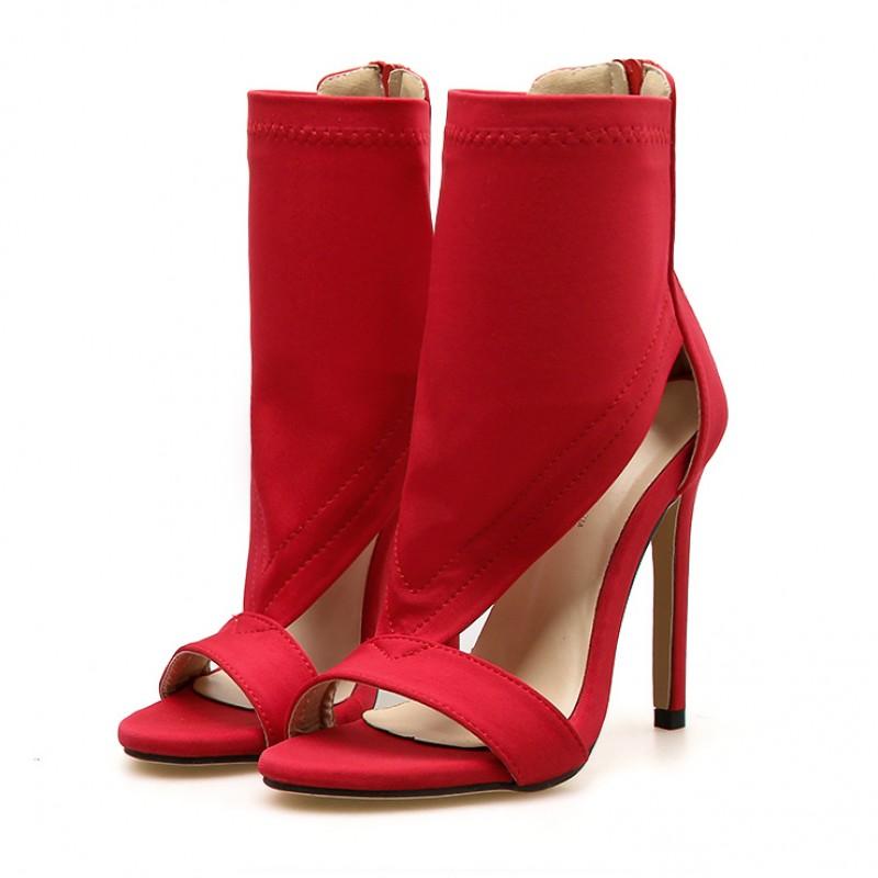 Red Peeptoe Ankle Bootie High Heels