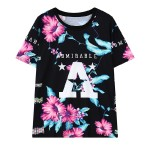 Black Flowers Admirable A Funky Short Sleeves T Shirt Top