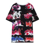Black Red Graffiti Harajuku Street Funky Short Sleeves T Shirt Top