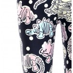 Black Cartoon Dinosaurs  Print Yoga Fitness Leggings Tights Pants