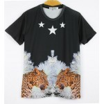 Black Fierce Double Leopards Cheetah Stars Short Sleeves Mens T-Shirt