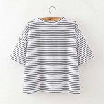 Black Red Stripes Sequins OLIVE Cropped Short Sleeves T Shirt Top