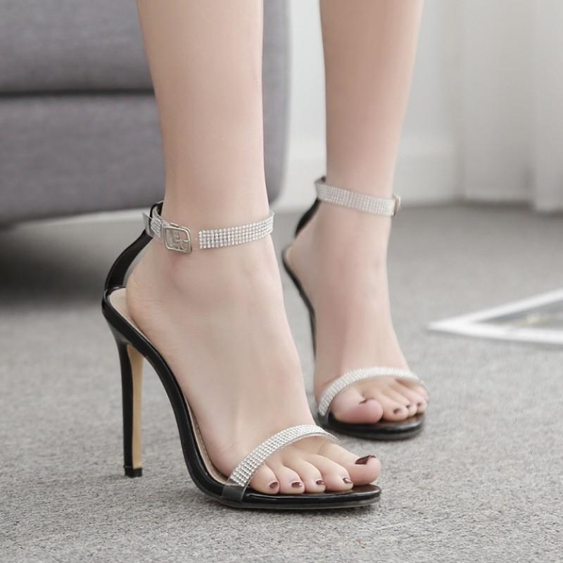 Black Diamantes Evening Gown High Heels