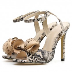 Khaki Snake Print Peep Toe Bow High Heels Stiletto Sandals Shoes