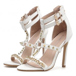 White Metal Spikes Strappy Punk Rock Sandals High Heels Stiletto Shoes