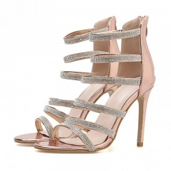 Gold Metallic Diamantes Strappy Evening Gown High Heels Stiletto Sandals Shoes