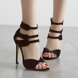 Black Suede Strappy High Heels Stiletto Sandals Shoes