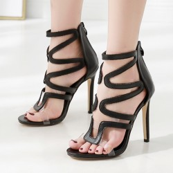 Black Hollow Out High Heels Stiletto Sandals Shoes