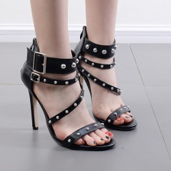 Black Metal Spikes Punk Rock Strappy High Heels Stiletto Sandals Shoes