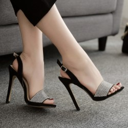 Black Suede Slingback Diamantes Evening Gown High Heels Stiletto Sandals Shoes