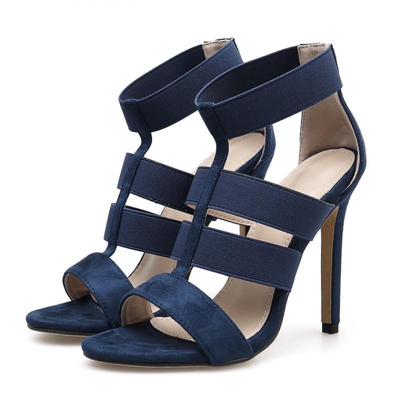 Blue Navy Suede Strappy High Heels