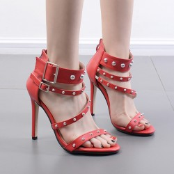 Red Metal Spikes Punk Rock Strappy High Heels Stiletto Sandals Shoes
