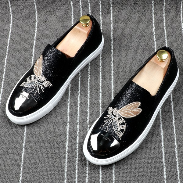 Black Glitters Bee Embroidery Sneakers Loafers Sneakers Mens Shoes Flats