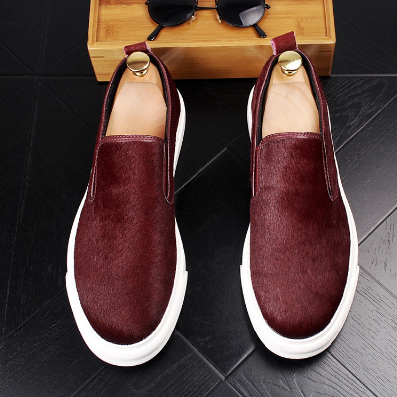 Burgundy Pony Fur Sneakers Loafers