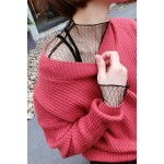 Black Fishnet Fish Net Lace Sheer Long Sleeves Turtleneck Layering Shirt