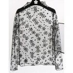 Black Snow Flakes Fishnet Fish Net Lace Sheer Long Sleeves Turtleneck Layering Shirt