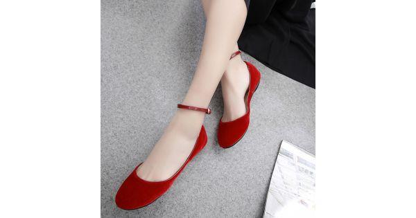 Red Velvet Mary Jane Ballerina Ballet Flats Shoes